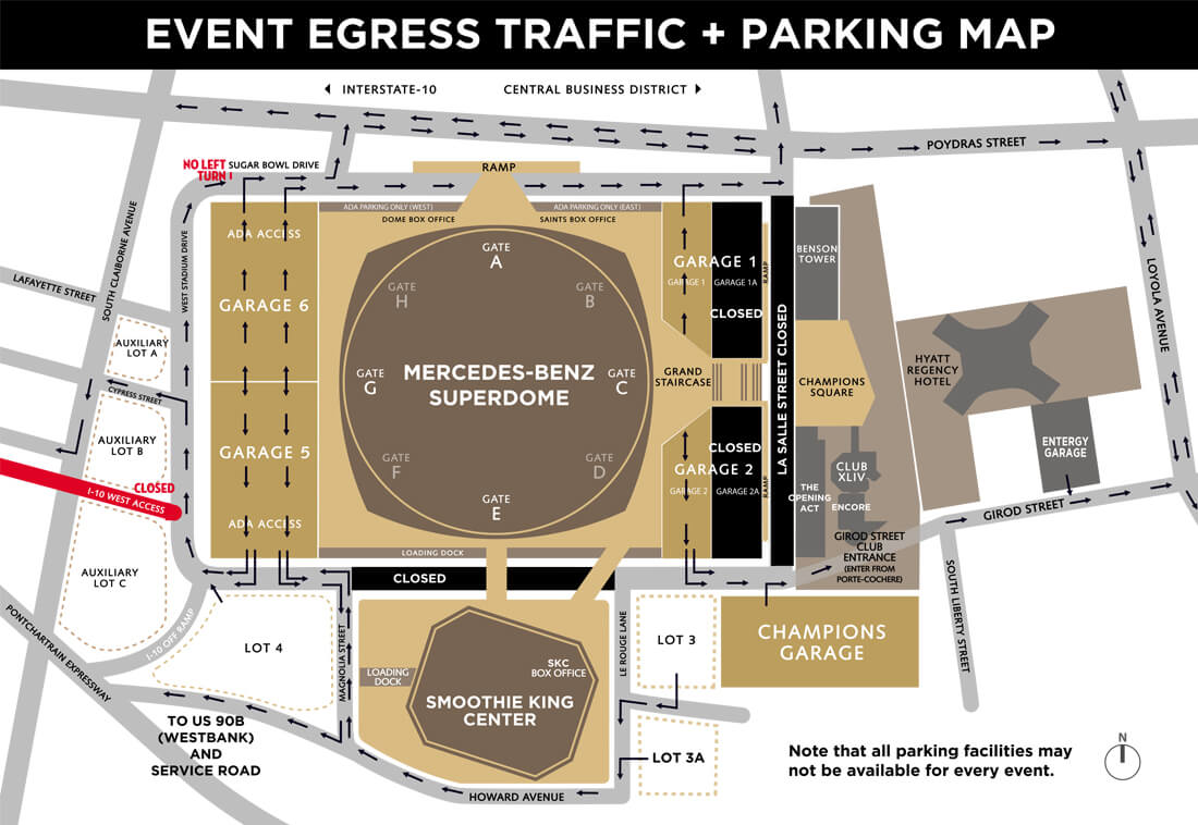 Traffic advisory smoothie king center for Mercedes benz superdome parking