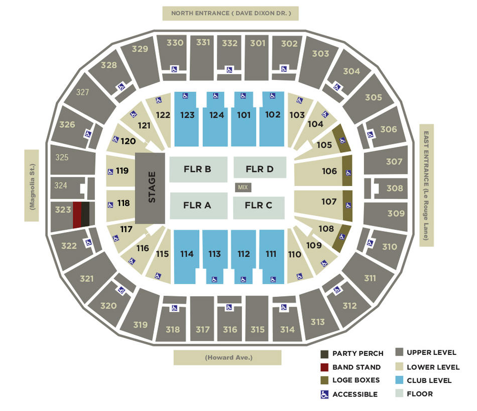 Smoothie King Center Seating Charts